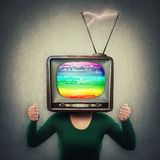 Tv head people manipulation stock image