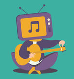 TV Head Person Tuning Guitar Royalty Free Stock Photos