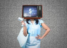 Tv head woman. Sales Royalty Free Stock Photography