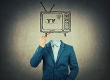 Tv headed royalty free stock photo