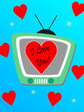 Tv and hearts Royalty Free Stock Photo