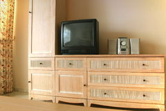 Tv and hi-fi on cabinets royalty free stock photos