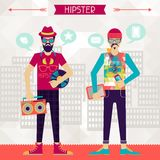 Två hipsters på stads- bakgrund i retro stil Royaltyfria Bilder