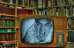 TV-hombre enojado Imágenes de archivo libres de regalías