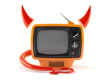TV with horns and tail Royalty Free Stock Image