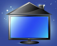 TV and house silhouette on night sky background Stock Images
