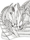 Två hästar som visar affektion, zentangle stiliserade, vektorn Arkivbilder