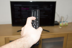 TV i daleki kontroler Obrazy Royalty Free