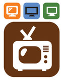 Tv icon. Vector color tv icon set on white Stock Photography