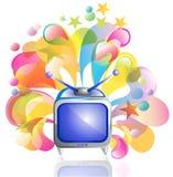 Tv icon and bright splash. Beautiful illustration Royalty Free Stock Images