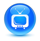 TV icon glassy cyan blue round button Stock Photography