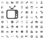 Tv icon. Media, Music and Communication vector illustration icon set. Set of universal icons. Set of 64 icons.  Royalty Free Stock Images