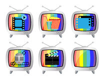 TV icon set Stock Photo