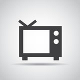 TV icon with shadow on a gray background. Vector illustration Stock Photography