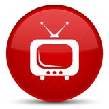 TV icon special red round button. TV icon isolated on special red round button abstract illustration stock illustration