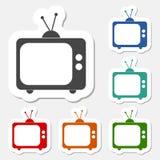 Tv icon sticker set Royalty Free Stock Image