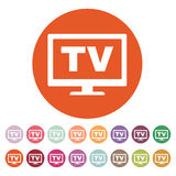 The tv icon. Television and telly, telecasting, broadcast symbol. Flat Royalty Free Stock Photography