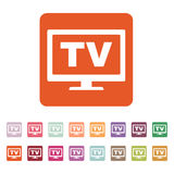 The tv icon. Television and telly, telecasting, broadcast symbol. Flat Royalty Free Stock Photo