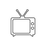 Tv Icon vector illustration in line style isolated on white back. Ground. Television symbol for web site design, logo, app, ui Stock Images