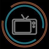 Tv icon, vector television screen illustration, video show, entertainment symbol. Thin line pictogram - outline stroke stock illustration