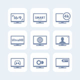 TV icons set, aspect ratio, 4k screen, ultra hd. Resolution, smart tv signs Stock Images