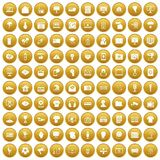 100 TV icons set gold. 100 TV icons set in gold circle isolated on white vector illustration stock illustration