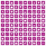 100 TV icons set grunge pink. 100 TV icons set in grunge style pink color isolated on white background vector illustration Royalty Free Stock Photos