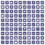 100 TV icons set grunge sapphire. 100 TV icons set in grunge style sapphire color isolated on white background vector illustration Stock Image