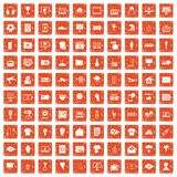 100 TV icons set grunge orange. 100 TV icons set in grunge style orange color isolated on white background vector illustration Stock Photo