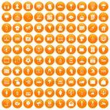 100 TV icons set orange. 100 TV icons set in orange circle isolated on white vector illustration royalty free illustration