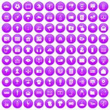100 TV icons set purple. 100 TV icons set in purple circle isolated on white vector illustration Royalty Free Stock Image