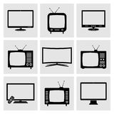TV icons set Stock Photo