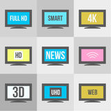 TV icons set. Royalty Free Stock Image