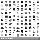 100 TV icons set, simple style Royalty Free Stock Photo