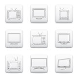 TV icons in thin line style on web buttons Stock Photos
