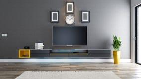 TV-idee van het ruimte het binnenlandse ontwerp Stock Foto