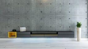TV-idee van het ruimte het binnenlandse ontwerp met concrete muur Stock Afbeelding