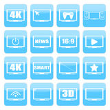 TV ikon wektoru set TV ekrany na białym tle TV odosobnione sylwetki Fotografia Stock