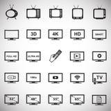 TV ikony ustawiać na białym tle dla grafiki i sieci projekta, Nowożytny prosty wektoru znak kolor tła pojęcia, niebieski internet royalty ilustracja