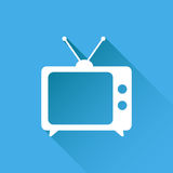 Tv ikony wektorowa ilustracja w mieszkanie stylu odizolowywającym na błękitnym backg Fotografia Stock