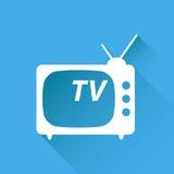 Tv ikony wektorowa ilustracja w mieszkanie stylu odizolowywającym na błękitnym backg Obraz Stock