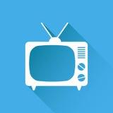 Tv ikony wektorowa ilustracja w mieszkanie stylu odizolowywającym na błękitnym backg Zdjęcie Royalty Free