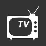 Tv ikony wektorowa ilustracja w mieszkanie stylu odizolowywającym na czerń plecy Obraz Stock
