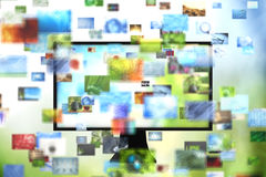 Tv with images. 3d render Royalty Free Stock Images