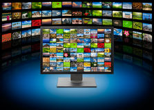 TV with images on media background. Monitor with images on multimedia background