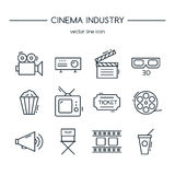 TV industry icons line set. Royalty Free Stock Photo