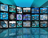 TV on the Internet. Abstract view of the many different images to the Internet for designers for various necessities Royalty Free Stock Photography