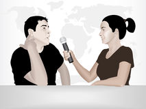 TV interview. Vector illustration of a journalist interviewing a guest in a studio Royalty Free Stock Image