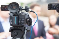 TV interview. News conference. Television interview. Press conference. Journalism Royalty Free Stock Photos
