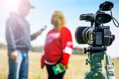TV interview. In open air Stock Image
